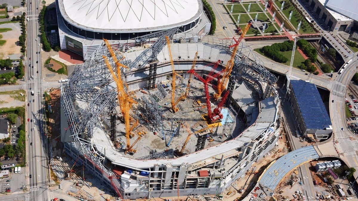 May 2016 aerial photos of mercedes benz stadium for Mercedes benz stadium jobs