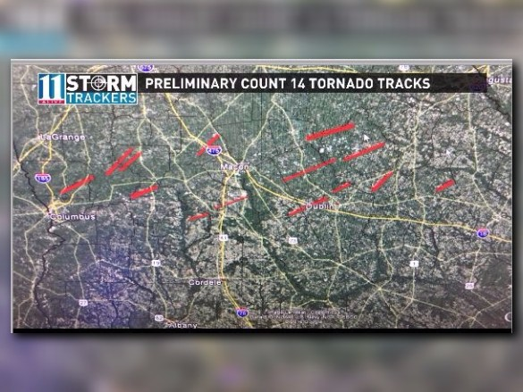 Prelim 14 Tornado Tracks Reported After Saturday Storms