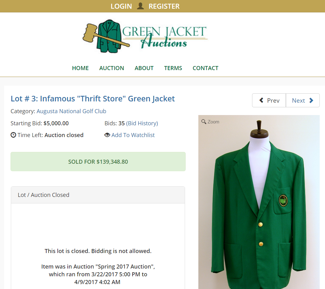 Green Jacket Auction