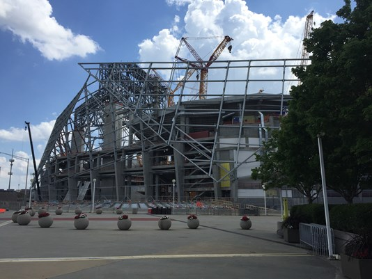 Mercedes benz stadium opening delayed first event pushed for Who owns mercedes benz stadium