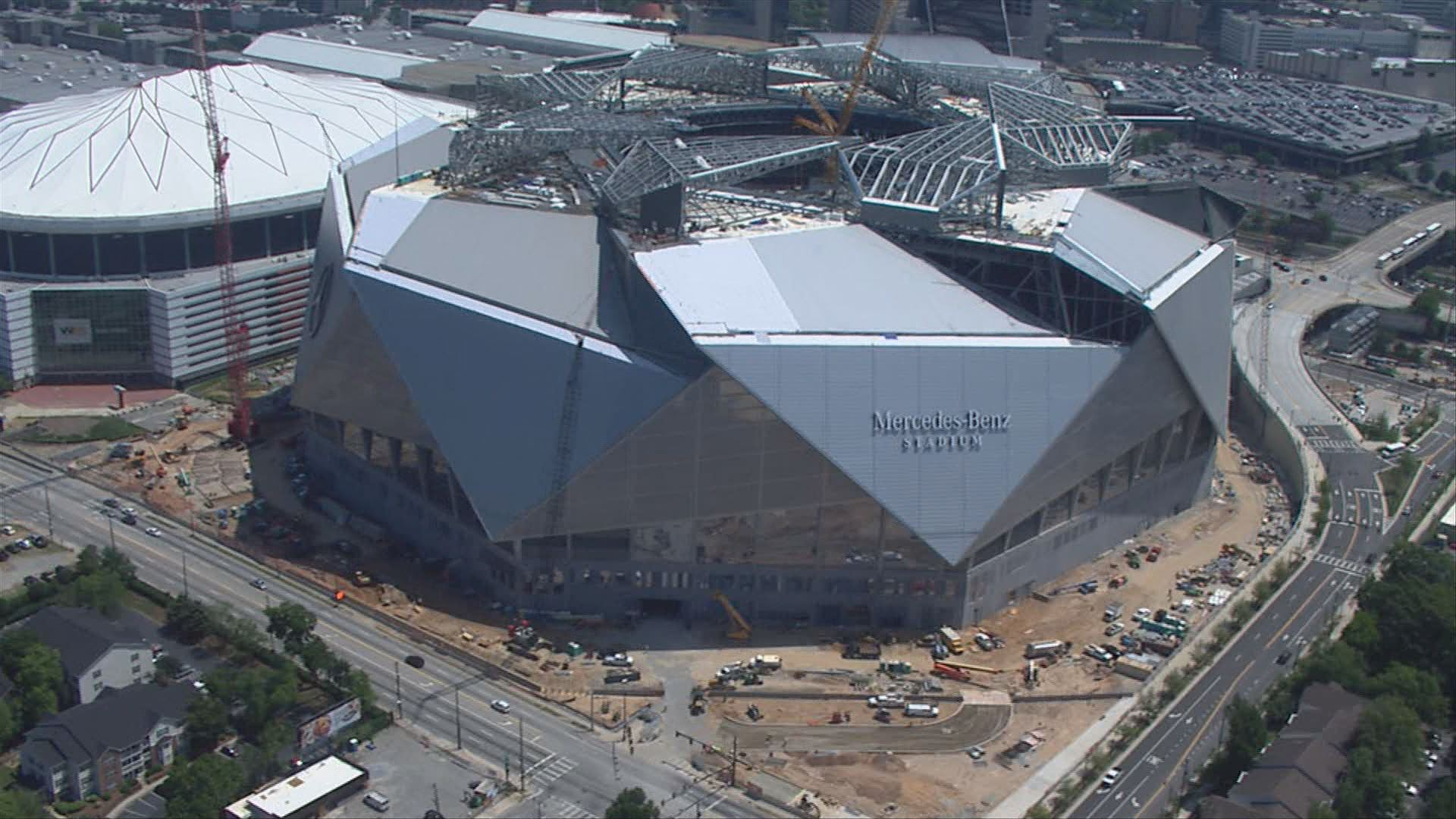A sneak peek into the nearly finished mercedes benz for Who owns mercedes benz stadium