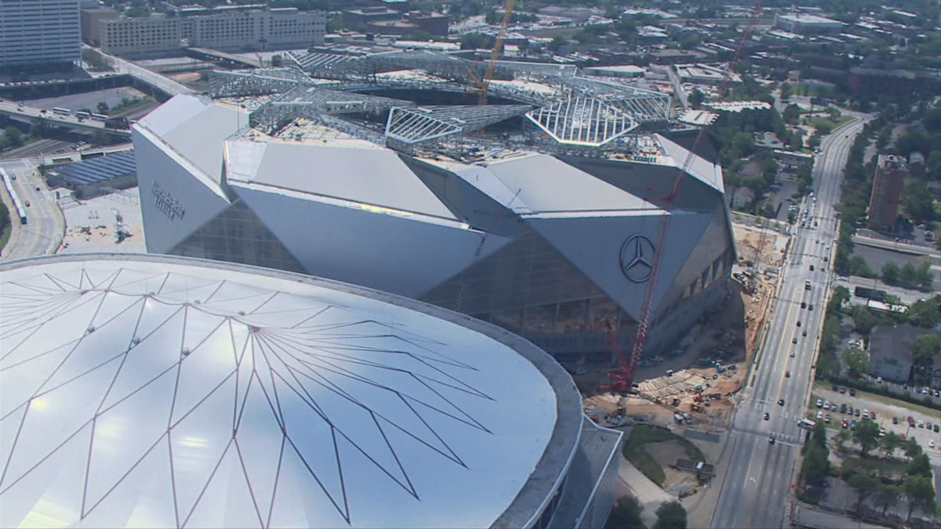 A sneak peek into the nearly finished mercedes benz for Mercedes benz stadium price