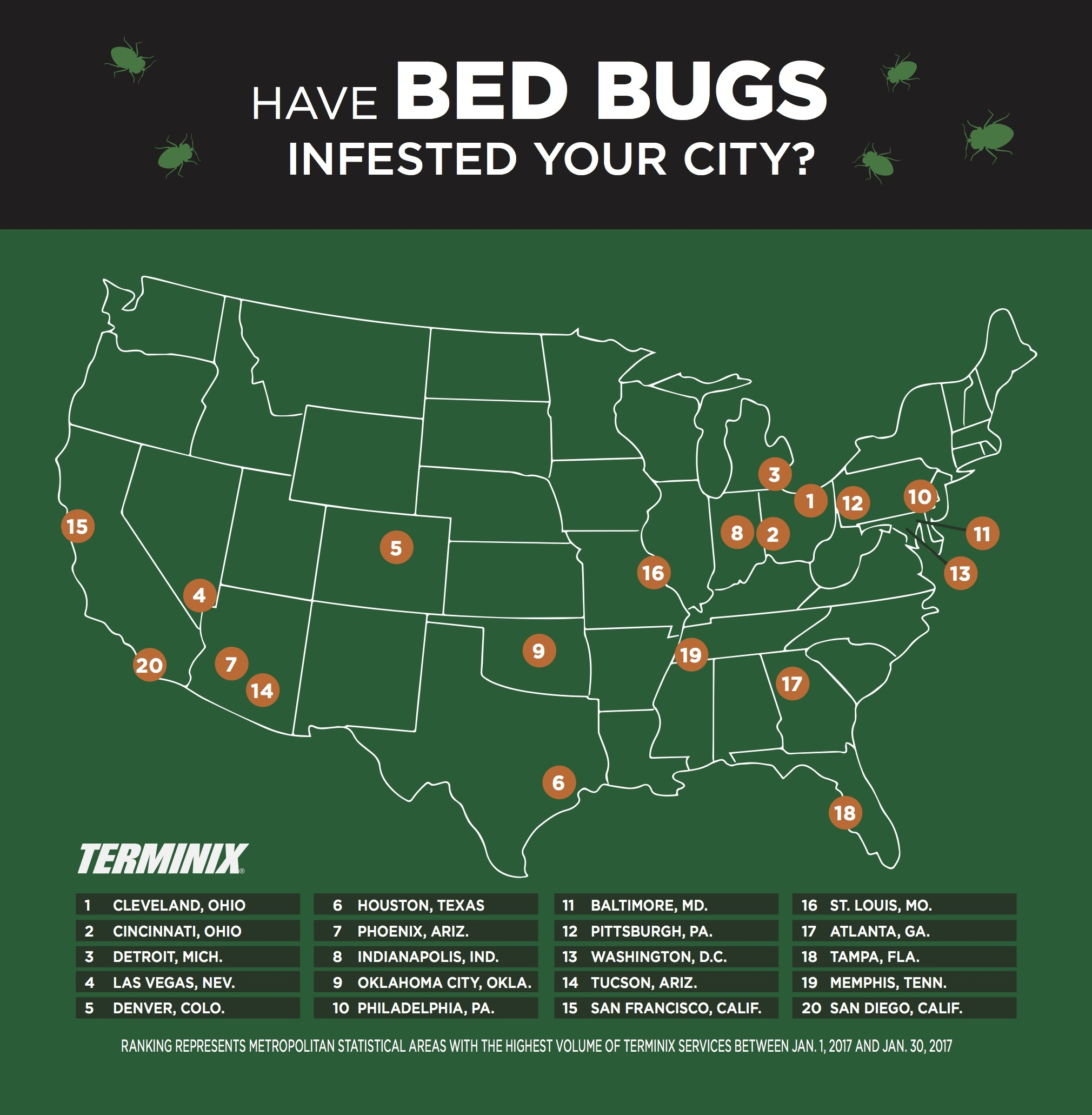 Infestation terminix says atlanta bedbug problem among for Bed bugs san francisco