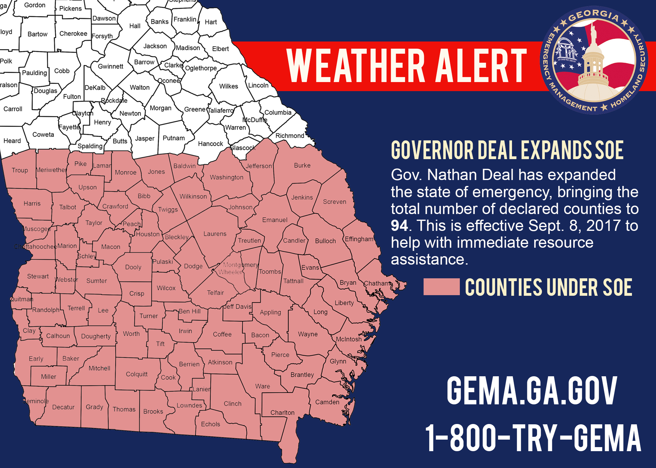Alivecom Deal Declares State Of Emergency In More Counties - Georgia map for irma