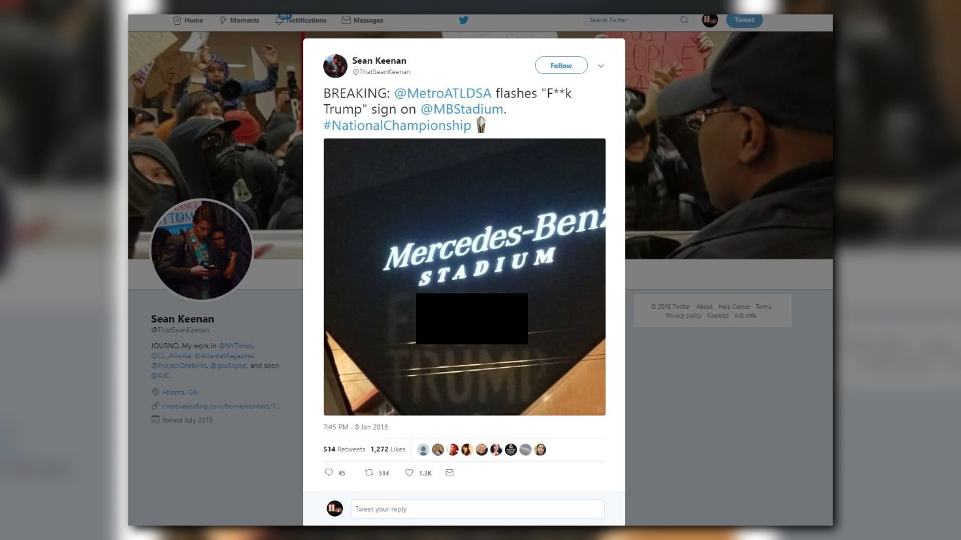 39 f trump 39 projected on mercedes benz for Will call mercedes benz stadium